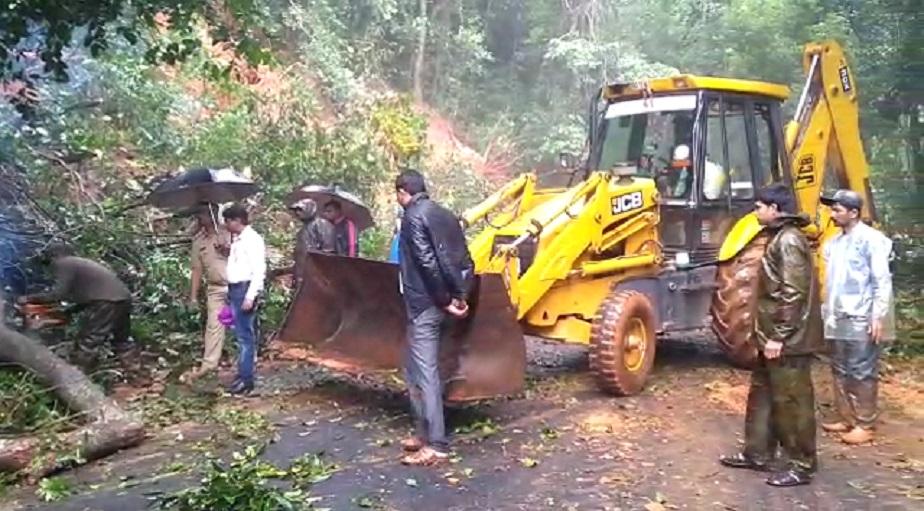 ಉತ್ತರ ಕನ್ನಡ ಜಿಲ್ಲೆಯ ಸಿದ್ದಾಪುರದಲ್ಲಿ ಮಳೆಯಿಂದಾಗಿ ರಸ್ತೆಗೆ ಬಿದ್ದ ಮರವನ್ನು ತೆರವುಗೊಳಿಸುತ್ತಿರುವುದು