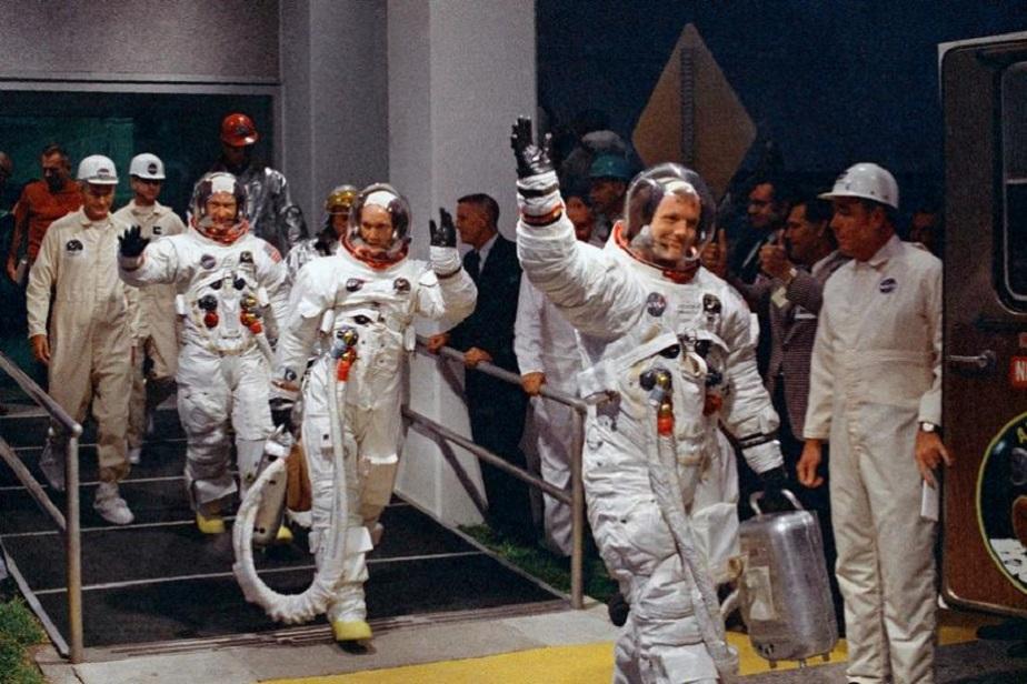 ಅಪೋಲೊ 11 ಮೂಲಕ ಚಂದ್ರಯಾನಕ್ಕೆ ತೆರಳುತ್ತಿರುವ ನೀಲ್ ಆರ್ಮ್ ಸ್ಟ್ರಾಂಗ್, <b>ಬಜ್ ಆಲ್ಡ್ರಿನ್</b>, ಮೈಕಲ್ ಕೊಲೀನ್