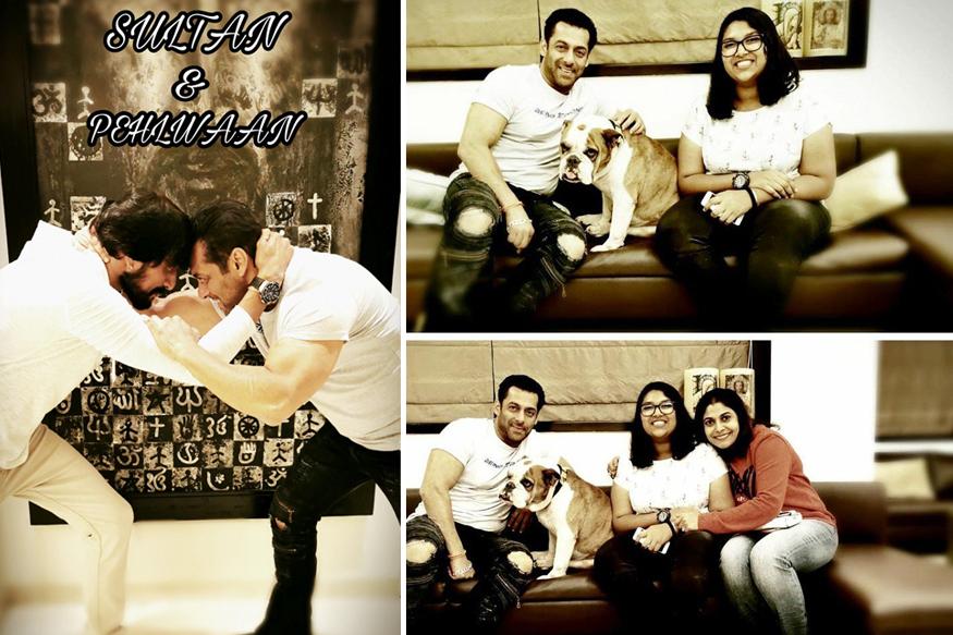Kichcha Sudeep, his wife Priya and daughter Sanvi met Salman Khan
