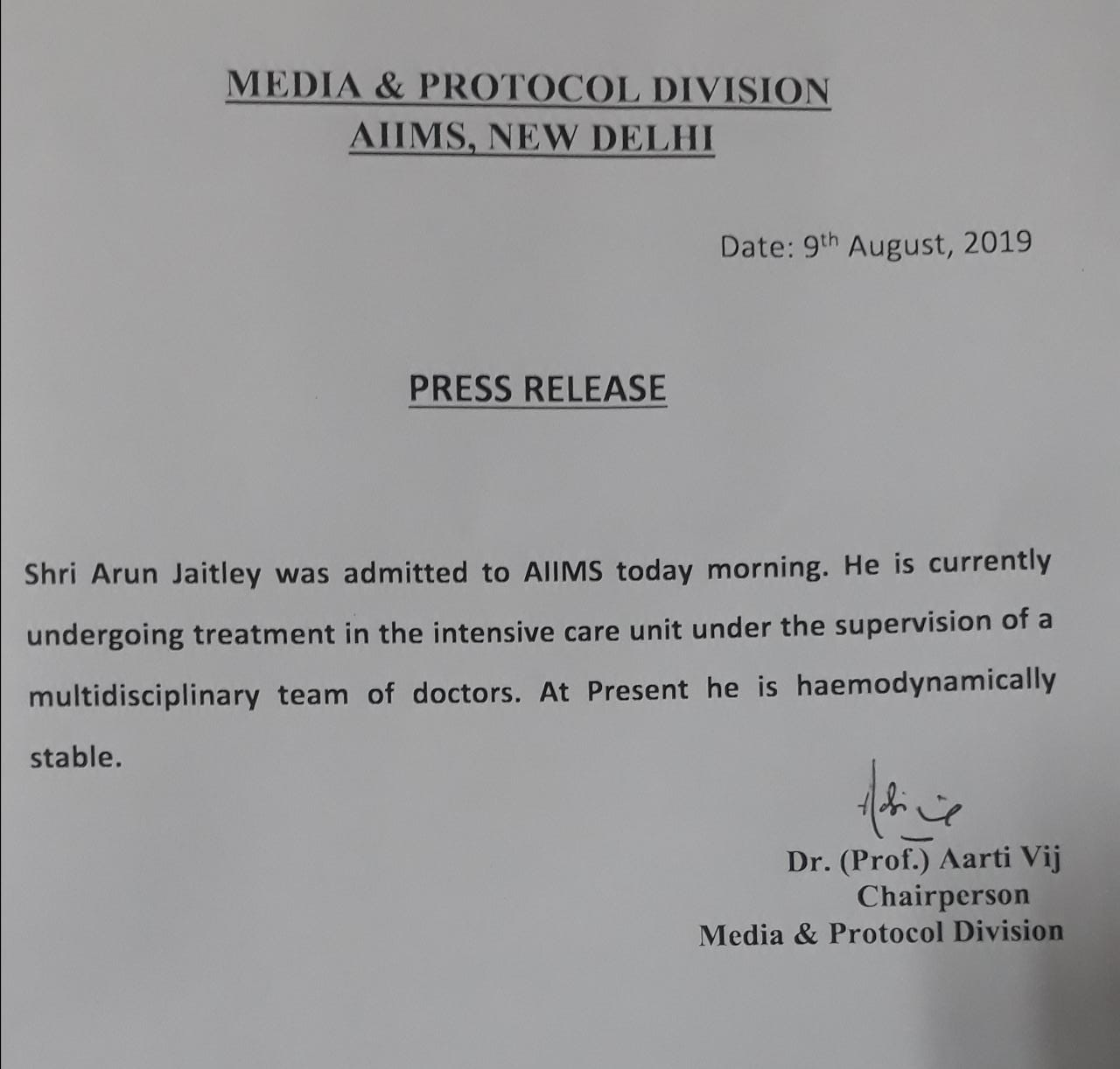 Arun Jaitley Health Bulletin of AIMS Hospital