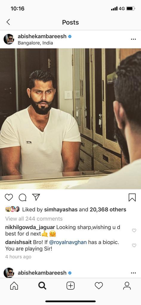 nikhil commnt on abhishek ambareesh's photo