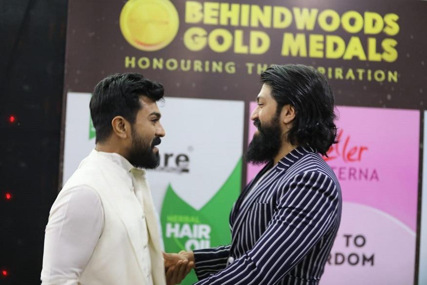 Ram Charan met kgf hero yash behindwoods gold awards