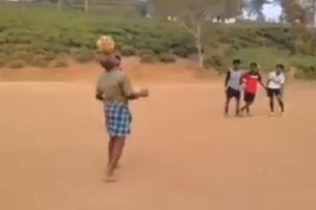 (VIDEO): ಲುಂಗಿ ಉಟ್ಟ ಅಜ್ಜನ ಕಾಲ್ಚೆಂಡಿನಾಟಕ್ಕೆ ಫುಟ್ಭಾಲ್ ಅಭಿಮಾನಿಗಳು ಫಿದಾ